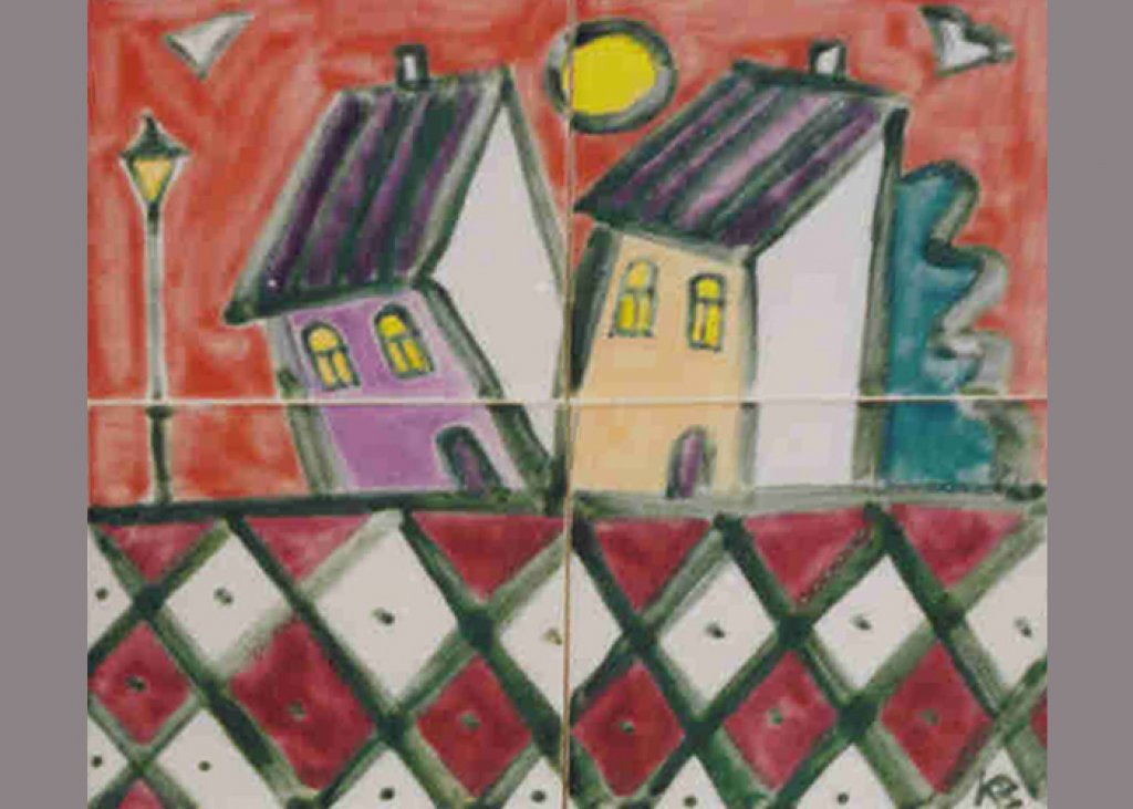 Houses Red Sky