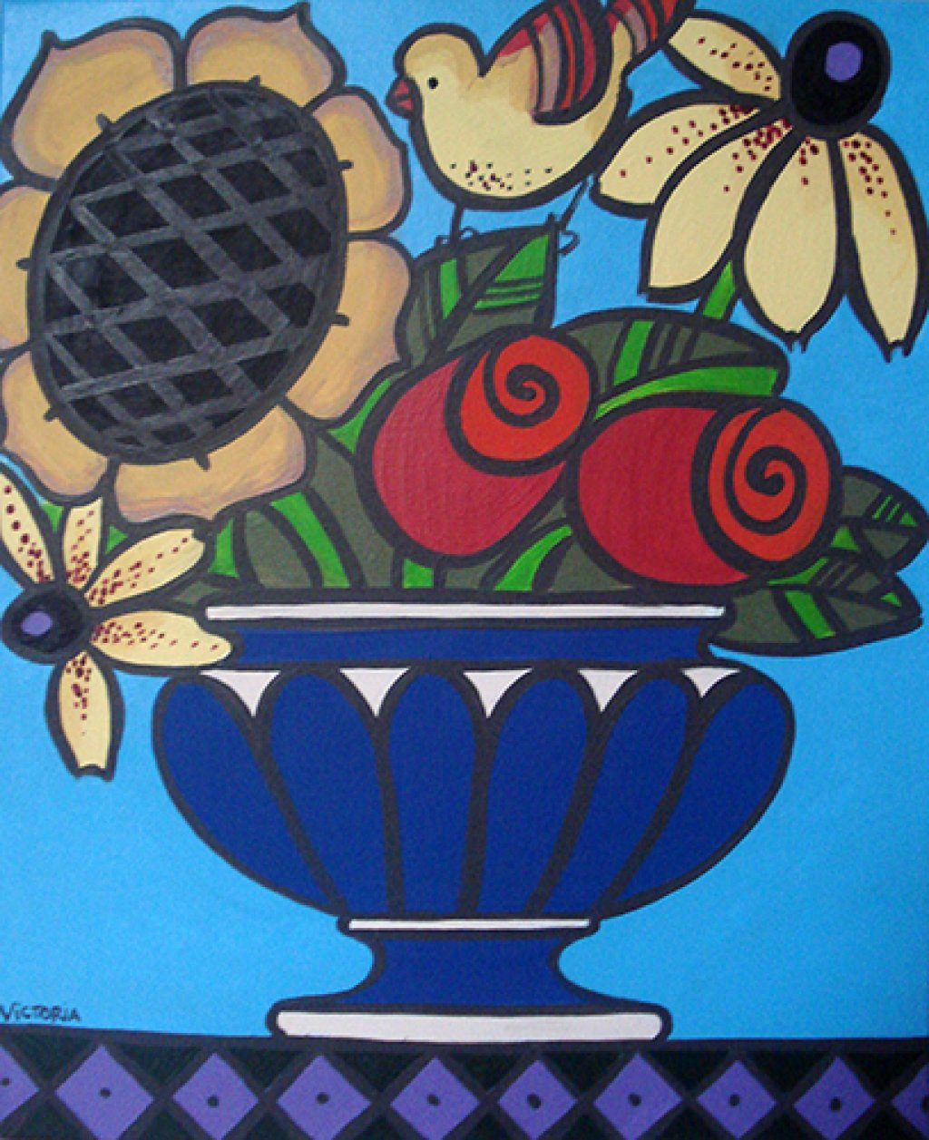 Flowers in a Blue Vase with a Bird