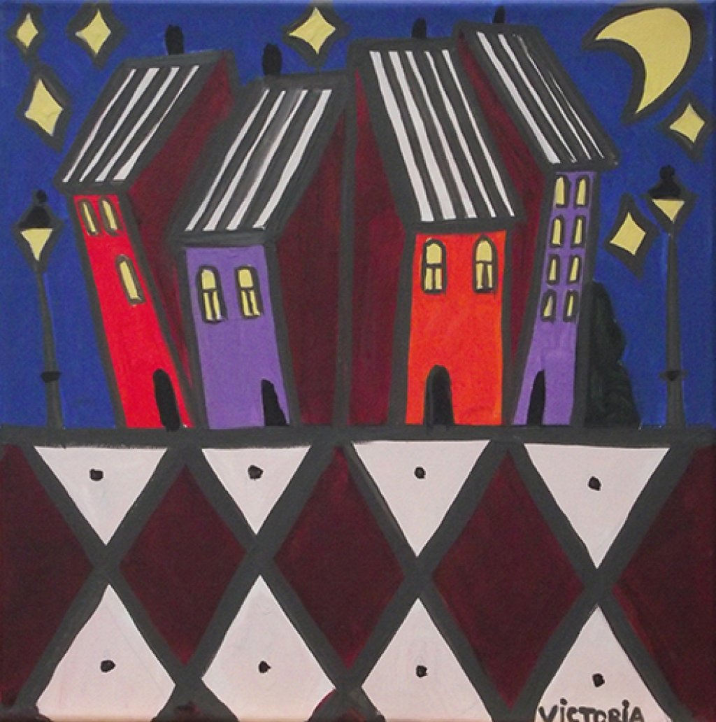 Houses at Night Painting