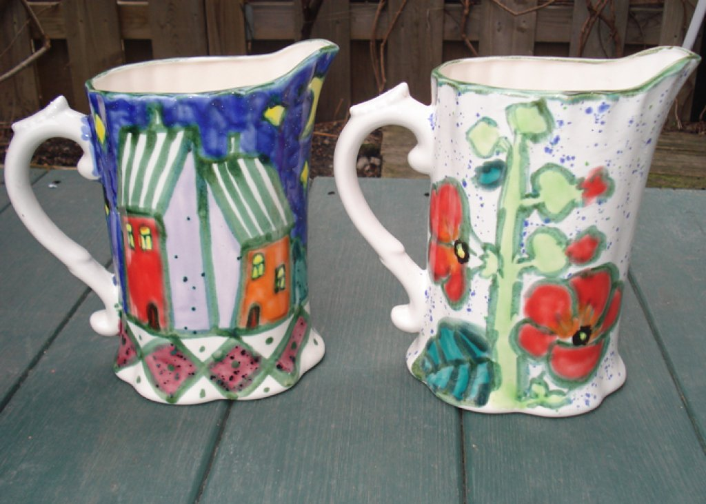 Milk Pitcher Houses & Hollyhocks