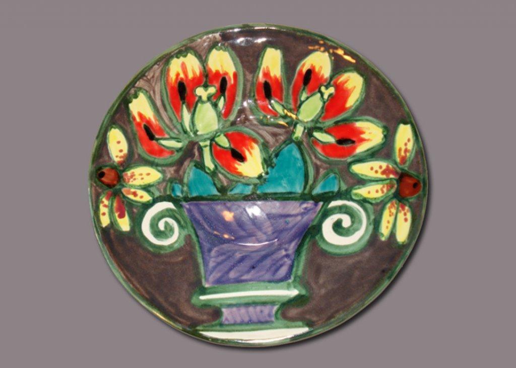Tulips in a Purple Vase